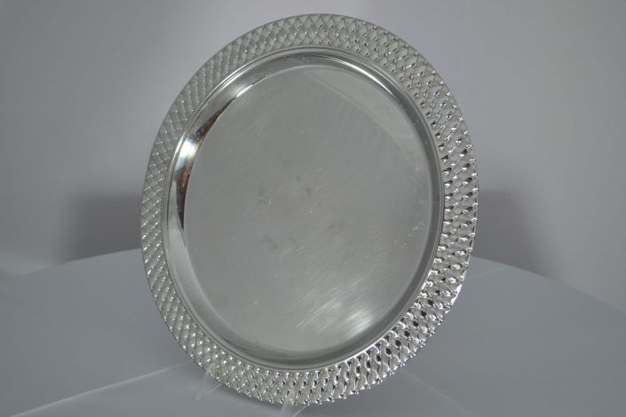 Serving Tray, Round Silver Wicker, 16_
