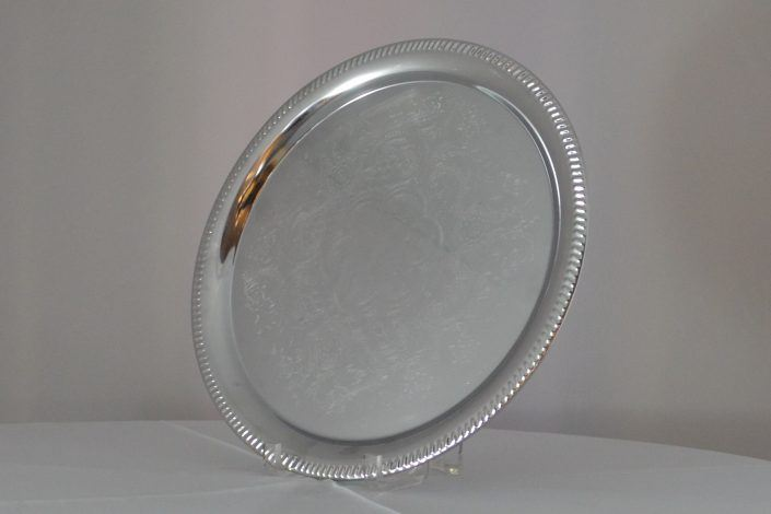 Serving Tray, Silver With Design, 14_