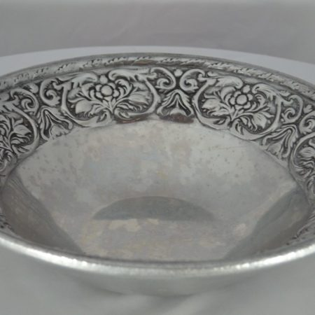 Serving Bowl, Cast Aluminum Floral Design, 16_