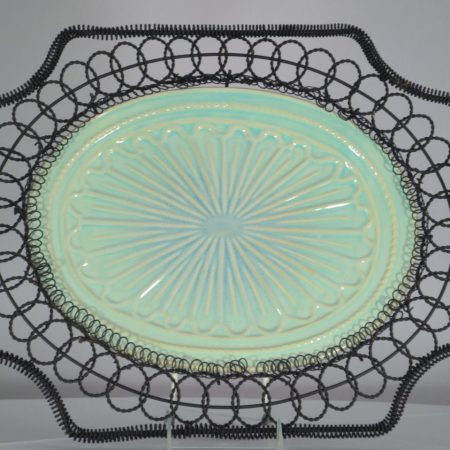 Serving Tray, Black French Wire Ceramic