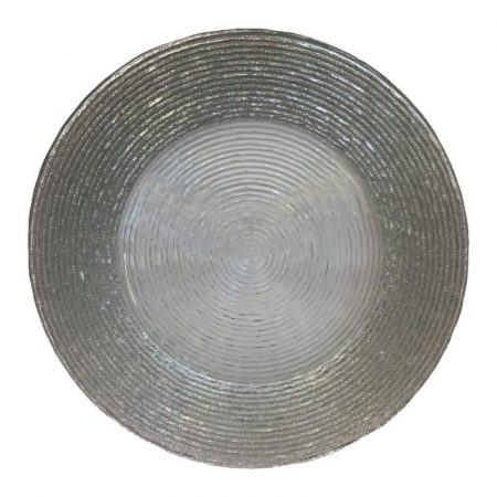 Silver Glitter Concentric Charger with Clear Middle