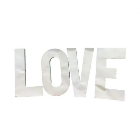 4ft White Metal Love Letters