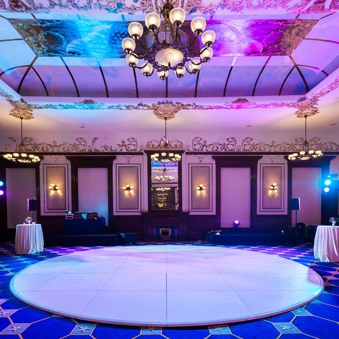 White Round Dance Floor Rentals