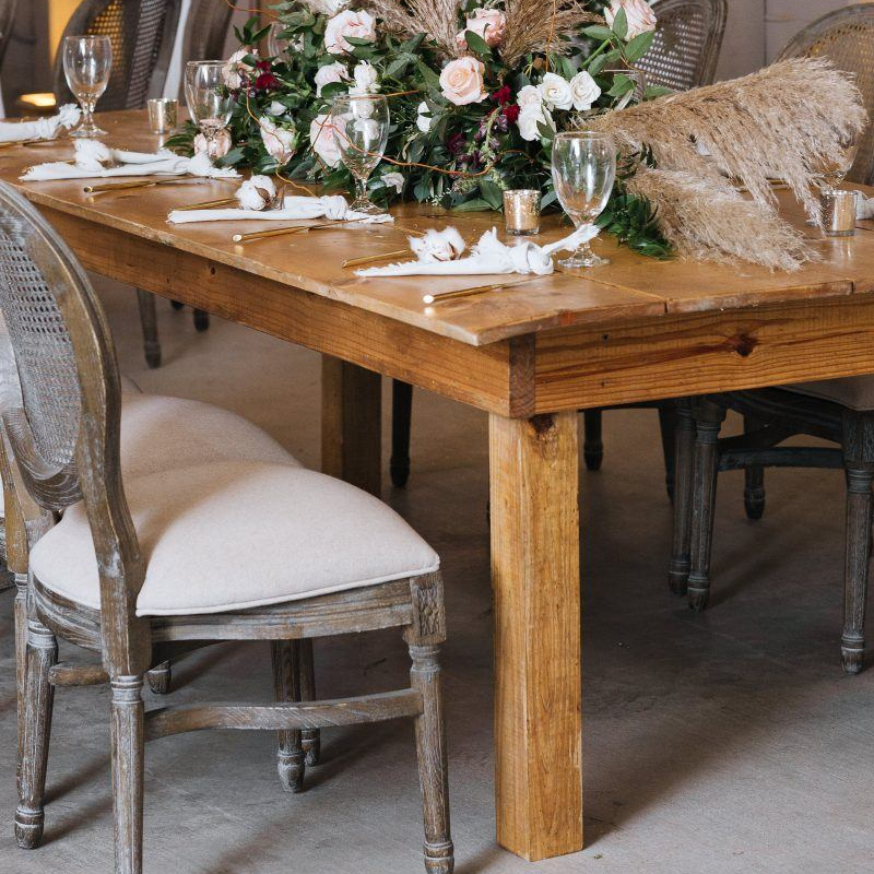Natural Vineyard Table and Louis Grey Dust Chairs