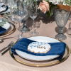 Clear Glass Charger with Gold Band, Marine Velvet Napkin