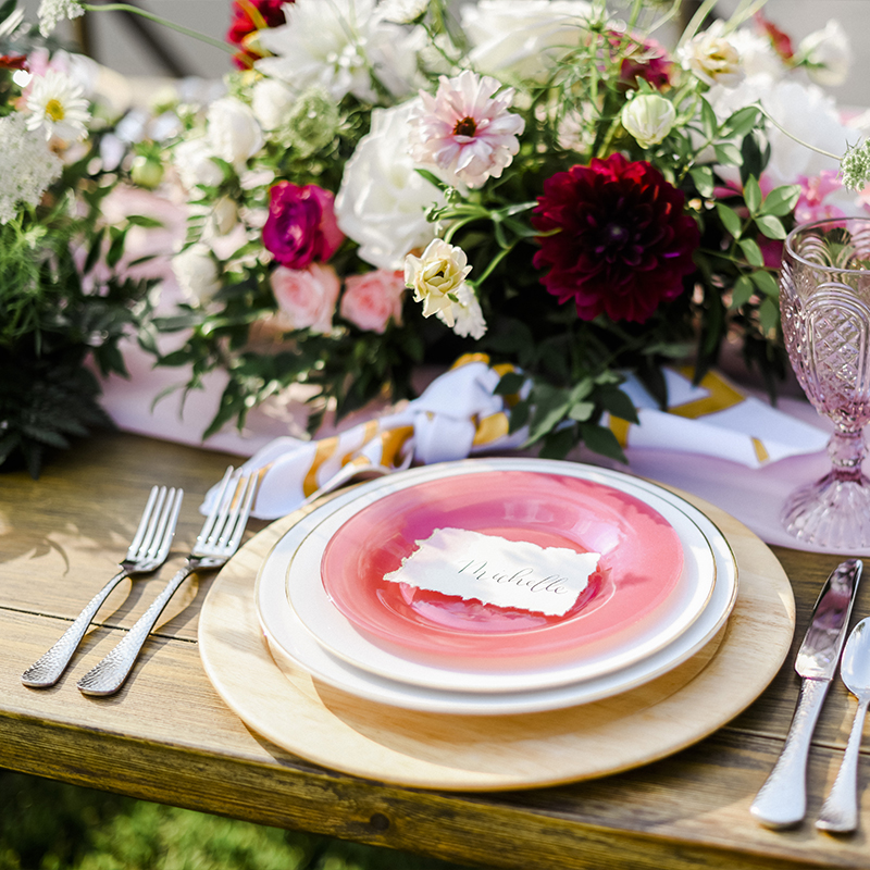 Plymouth Farm Table, Pebble Flatware, Frosted Watermelon Salad Plate