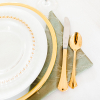 Sage Gabrielle Napkin, Charger with Gold Band