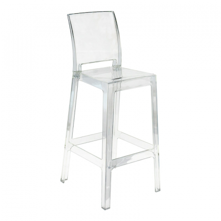 Ghost Square Back Bar Stool