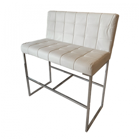 White Leather Cocktail Bench